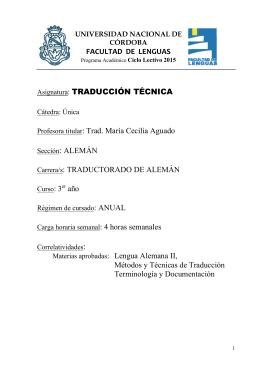 Tradución Técnica - Universidad Nacional de Córdoba Lenguas