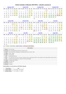 Calendario escolar Lituania 2015/2016 - Calendar.sk