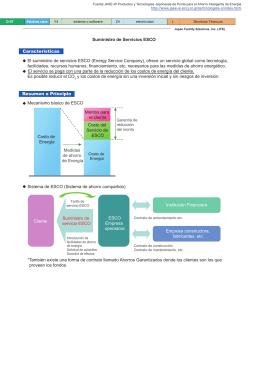 Características Suministro de Servicios ESCO El suministro de