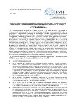 Conclusiones y Recomendaciones de la Comisión Especial
