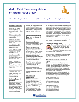 Cedar Point Elementary School Principals` Newsletter