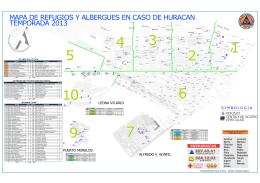 mapa de refugios y albergues en caso de huracan temporada 2013