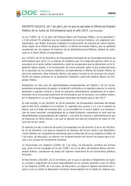 Oferta de Empleo Público.- Decreto 54/2015, de 7 de abril
