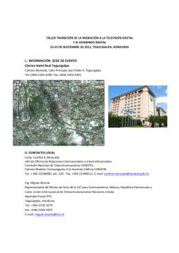 I.- INFORMACIÓN SEDE DE EVENTO Clarion Hotel Real