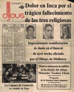 Dolor en Inca por el rágico fallecimiento de las tres religiosas