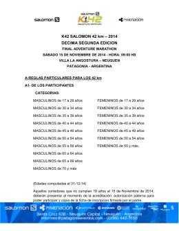 K42 SALOMON 42 km – 2014 DECIMA SEGUNDA EDICION