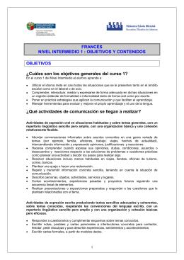 FRANCÉS NIVEL INTERMEDIO 1 - Escuelas Oficiales de Idiomas