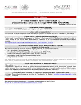 Solicitud de crédito hipotecario FOVISSSTE (Procedimiento no
