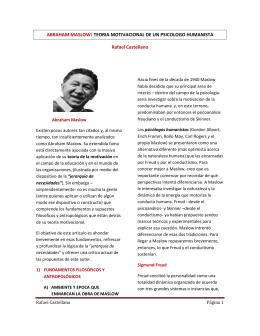 ABRAHAM MASLOW: TEORIA MOTIVACIONAL DE UN