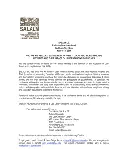 SALALM LIX Radisson Downtown Hotel Salt Lake City, Utah May 10