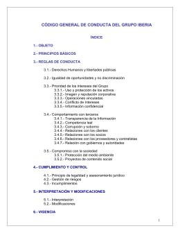 CÓDIGO GENERAL DE CONDUCTA DEL GRUPO IBERIA