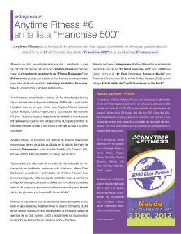 "Anytime Fitness #6 en la lista ""Franchise 500"""