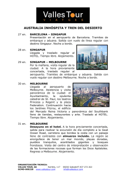 AUSTRALIA y THE GHAN itinerario
