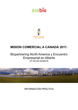 MISION COMERCIAL A CANADÁ 2011: Biopartnering