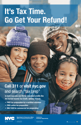 "Call 311 or visit nyc.gov and search ""tax prep"""