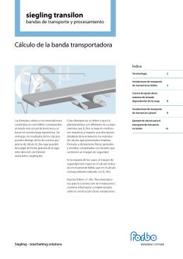 Cálculo de la banda transportadora