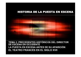Historia de la Puesta en Escena en el teatro frances del siglo XVII
