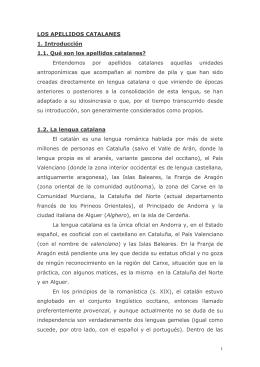 LOS APELLIDOS CATALANES - Societat Catalana de Genealogia