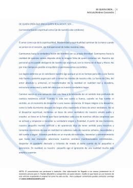 DE QUIEN CREÍA… Artículo/Andrea Cassandra 1 DE QUIEN CREÍA