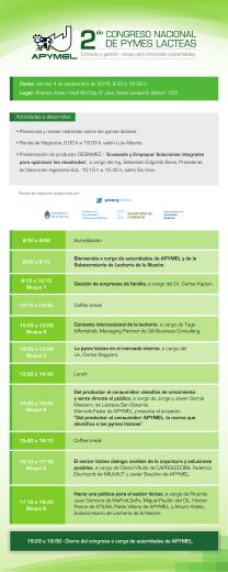 Programa 2º Congreso Nacional de Pymes Lácteas