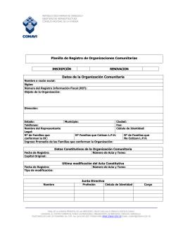 Registro de Organizaciones Comunitarias (OCV)