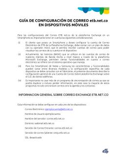 GUÍA DE CONFIGURACIÓN DE CORREO etb.net.co EN