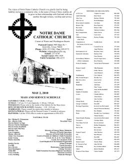 Bulletin May 1-2, 2010 - Notre Dame Catholic Church