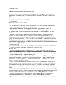 LEY (Bs. As.) 14653 Ley impositiva 2015. Modificaciones al