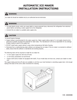 AUTOMATIC ICE MAKER INSTALLATION INSTRUCTIONS