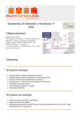 Guatemala, El Salvador y Honduras 11 Días