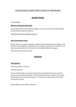 Lista de Hoteles, Aparts Hotel y Hostels en Montevideo APARTS