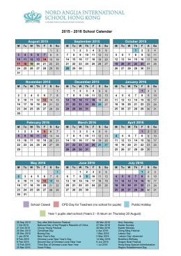 2015 - 2016 School Calendar
