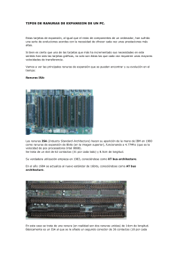 TIPOS DE RANURAS DE EXPANSION DE UN PC
