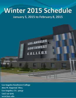 Schedule of Classes - Los Angeles Southwest College