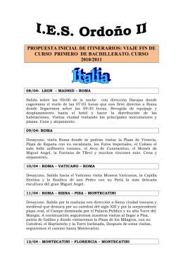 PROPUESTA INICIAL DE ITINERARIOS: VIAJE FIN DE CURSO