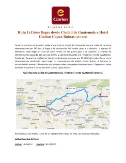 Ruta 1) Cómo llegar desde Ciudad de Guatemala a Hotel Clarion