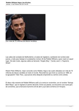Robbie Williams llega a los 40 años