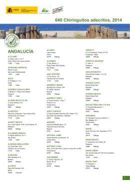 ANDALUCÍA 640 Chiringuitos adscritos, 2014