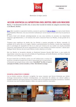 ACCOR ANUNCIA LA APERTURA DEL HOTEL IBIS LOS MOCHIS