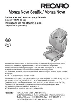 Manual de instrucciones | Recaro Monza Nova