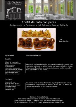 Confit de pato con peras - Balneario y Termas Pallares