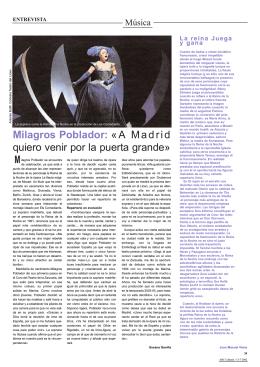 Milagros Poblador: «A Madrid quiero venir por la puerta grande» M