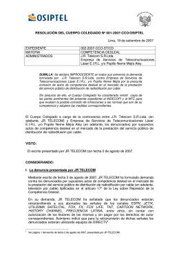 RESOLUCIÓN DEL CUERPO COLEGIADO Nº 001-2007