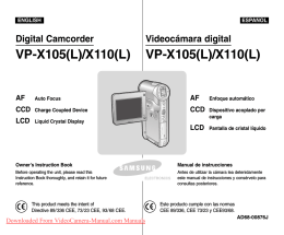 Samsung VP-X110L Camcorder User Guide Manual Operating
