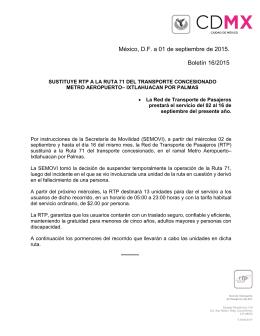 México, D.F. a 01 de septiembre de 2015. Boletín 16/2015