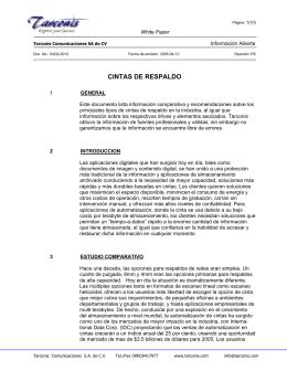 cintas de respaldo - Tarconis Comunicaciones SA de CV Sistemas