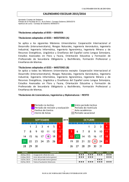 CALENDARIO ESCOLAR 2015/2016 - Centros Universidad de León