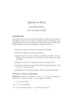 Apuntes de Álgebras de Boole.