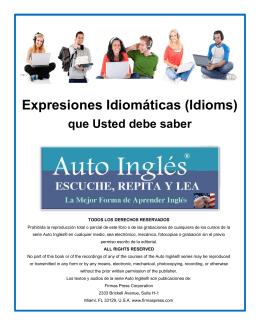 Expresiones Idiomáticas (Idioms) que Usted debe saber