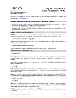 Ley de Transparencia Crédito Hipotecario HSBC